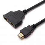 """HDMI 1 MALE TO DUAL FEMALE  """"Y"""" SPLITTER CABLE"""